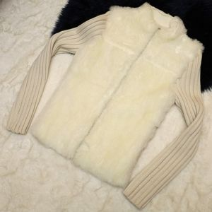 Cream Free People Furry Panel Full Zip Sweater